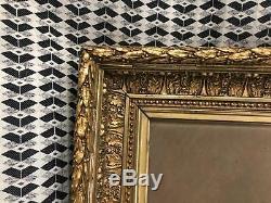 ANCIEN GRAND TABLEAU, CADRE DORE, PAYSAGE, VILLAGE, XIXeme, SIGNE SEGNOL, PEINTURE