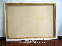 ANCIEN TABLEAU 81 x 60 cm PEINTURE sur TOILE MARSEILLE VALLON des AUFFES SIGNE