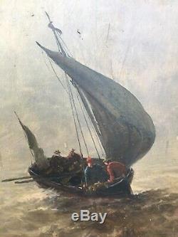 ANCIEN TABLEAU PEINTURE E Meisenbere MARINE BATEAU VOILIER CADRE HUILE