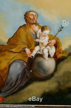 ANCIEN TABLEAU PEINTURE FIXé SOUS VERRE ST JOSEPH & ENFANT JéSUS DéBUT XIXE 19E