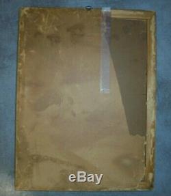 ANCIEN TABLEAU PEINTURE SCÈNE DE VIE PERSONNAGES LAC FORÊT SIGNÉ 40x30cm RUSSE