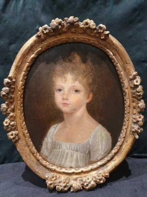 Ancien Tableau, Portrait, Xviiieme, Peinture, Tableau, Comtesse, Cadre Xviii, Bois Dore