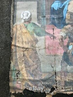ANCIENNE GRANDE PEINTURE RELIGIEUSE XIXème CHRIST 200 x 180 cm 19th TABLEAU