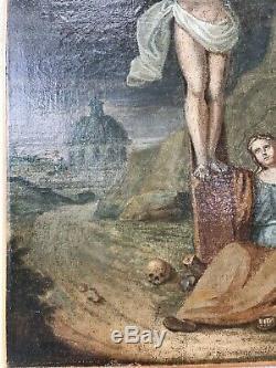 ANCIENNE PEINTURE HUILE XVIII ème CHRIST SUR LA Croix. TABLEAU. RELIGIEUX
