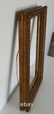 Ancien Cadre Pour Tableau Peinture Bois Dore Sculpte 49/35 39/25.4 CM #1