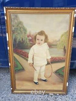 Ancien Grand Tableau, Portrait, Enfant, Signe, Xxeme, Bebe, Peinture, Huile Sur Toile