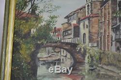 Ancien Peinture Tableau Toile Originale Saint St Pied De Port Pays Basque