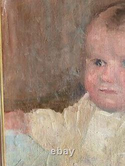 Ancien Portrait enfant bébé tableau huile sur toile peinture impressionniste