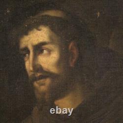 Ancien Saint François tableau huile sur toile peinture religieuse 700 art sacré