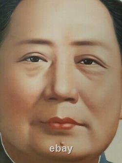 Ancien Superbe Tableau Peinture HST RARE Portrait Mao Zedong Chine Pekin
