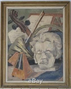 Ancien Tableau A Costa Nature Morte Beethoven Musique Peinture Huile Violon