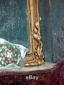 Ancien Tableau Adèle d'Affry (1836-1879) Peinture Huile Antique Oil Painting