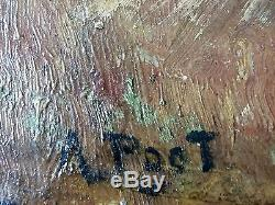 Ancien Tableau Adolphe Poot (1924-2006) Peinture Huile Antique Oil Painting