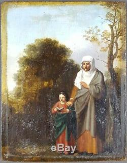 Ancien Tableau Anne Eduquant Marie Peinture Huile Antique Oil Painting Dipinto
