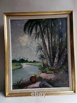 Ancien Tableau Art Déco Huile Peinture Africaniste Orientaliste Pierre Castagnez