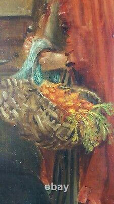 Ancien Tableau Au Presbytère Peinture Huile Toile Antique Oil Painting Gemälde