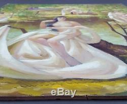 Ancien Tableau Baigneuses Peinture Huile Antique Oil Painting Ölgemälde Ölbild