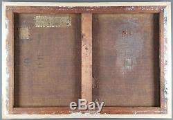 Ancien Tableau Balade en Pirogue Peinture Huile Antique Oil Painting