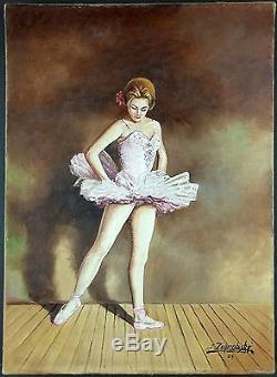 Ancien Tableau Ballerine Peinture Huile Antique Oil Painting