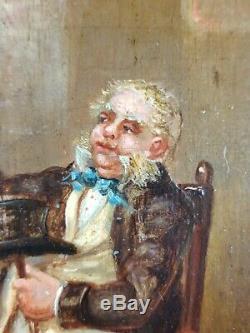 Ancien Tableau Buveur de Bière Peinture Huile Antique Old Painting Dipinto