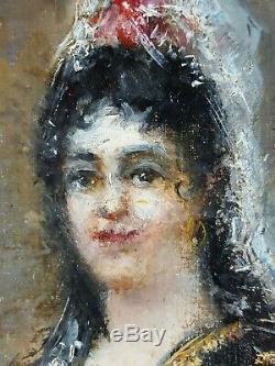 Ancien Tableau Carmen Peinture Huile Toile Antique Oil Painting Old Vintage