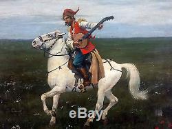 Ancien Tableau Cavalier à l'Instrument Peinture Huile Antique Oil Painting