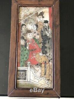 Ancien Tableau Chinois Asiatique Sur Pierre Dure Peinture Rare