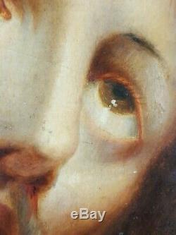 Ancien Tableau Christ à la Couronne d'Epines Peinture Huile Antique Painting