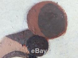 Ancien Tableau Composition Abstraite Peinture Huile Antique Oil Painting