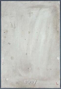 Ancien Tableau Composition Abstraite Peinture Huile Cubisme Antique Painting