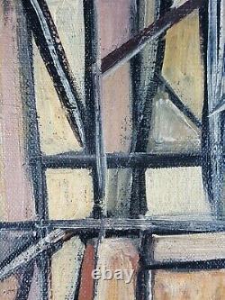 Ancien Tableau Composition Abstraite Peinture Huile Toile Antique Oil Painting