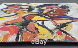Ancien Tableau Couple Peinture Huile Antique Oil Painting