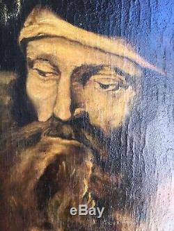 Ancien Tableau D'après Rembrandt R. MARCHAND 1922 peinture sur toile