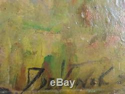Ancien Tableau Daisy de Vinck (XXe) Peinture Huile Antique Oil Painting Vintage