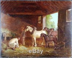 Ancien Tableau Dans l'Ecurie Peinture Huile Antique Oil Painting