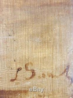 Ancien Tableau Elégante sur la Côte Peinture Huile Toile Antique Oil Painting
