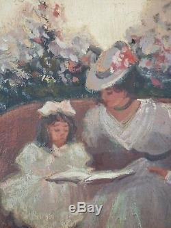 Ancien Tableau Elégantes au Balcon Peinture Panneau Antique Oil Painting