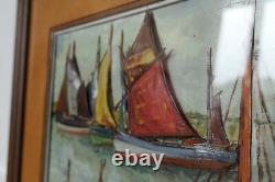 Ancien Tableau En Relief Signe M. Martinet Peinture Marine Bateaux Port