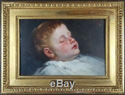 Ancien Tableau Enfant Endormi Peinture Huile Antique Oil Painting Old Dipinto