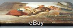 Ancien Tableau Enfants à la Campagne Peinture Huile Antique Oil Painting Old