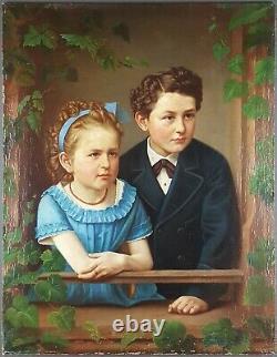 Ancien Tableau Enfants à la Fenêtre Peinture Huile Toile Antique Oil Painting