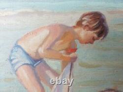 Ancien Tableau Enfants à la Plage Peinture Huile Oil Antique Painting Gemälde