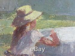 Ancien Tableau Enfants dans un Parc Peinture Huile Antique Oil Painting
