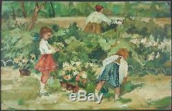 Ancien Tableau Enfants dans un Parc Peinture Huile Antique Oil Painting Old