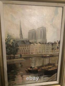 Ancien Tableau Erroc Paris Sacré Île Saint Louis Notre Dame Peintre Peinture