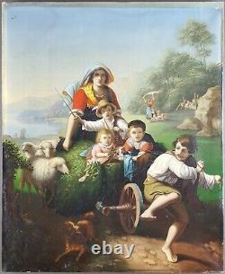 Ancien Tableau Famille Peinture Huile Antique Oil Painting Antico Dipinto