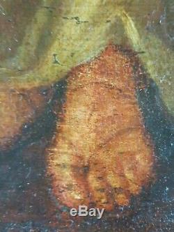 Ancien Tableau Femme au Brasero Peinture Huile Antique Oil Painting Dipinto