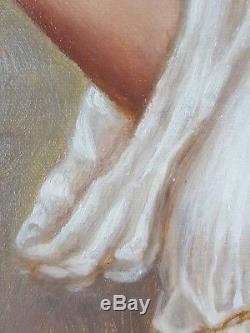 Ancien Tableau Femme au Cerisier Peinture Huile Antique Oil Painting