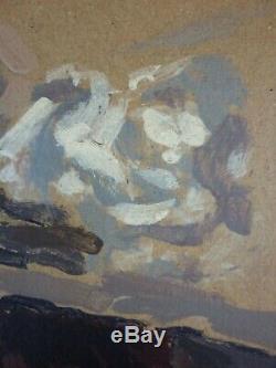 Ancien Tableau Femme au Chapeau Peinture Huile Antique Oil Painting Dipinto