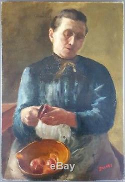 Ancien Tableau Femme dans sa Cuisine Peinture Huile Antique Oil Painting